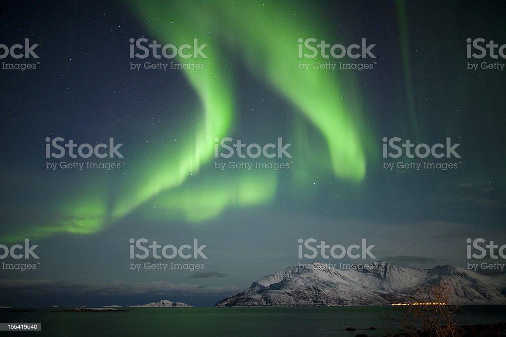 Aurora Borealis in Arctic Norway stock photo