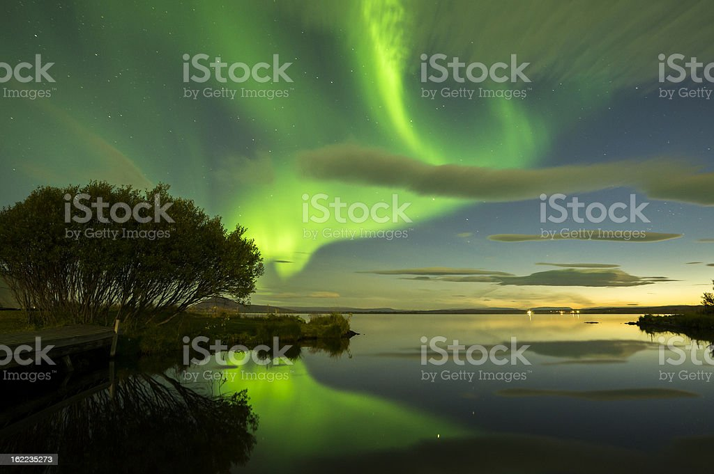 Aurora Borealis in green lights in Iceland stock photo