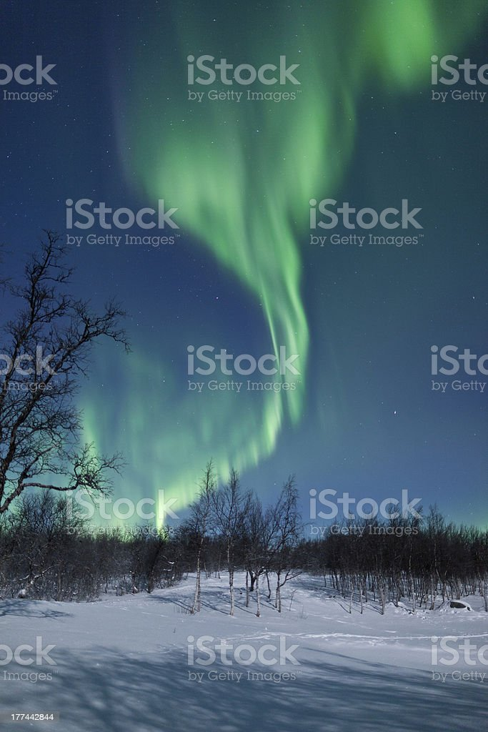 Aurora Borealis (Northern Lights) in Sweden royalty-free stock photo
