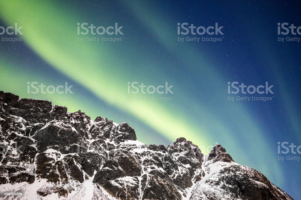 Aurora Borealis, Lofoten. Copy space stock photo