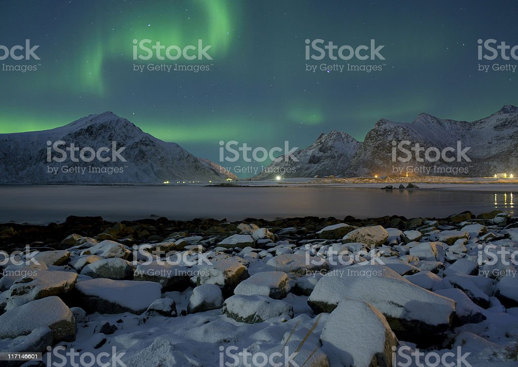 Aurora Borealis, Lofoten Islands, Arctic Norway stock photo