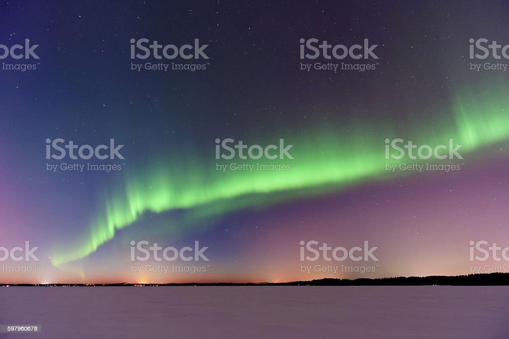Aurora Borealis, Northern Lights, above frozen lake stock photo