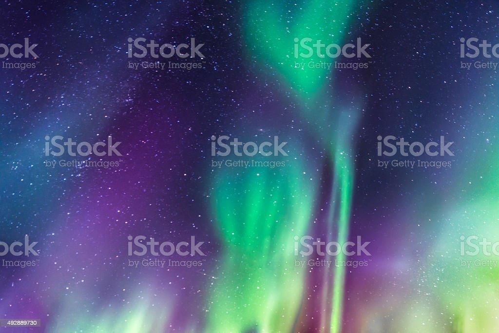 Aurora Borealis on a starry sky stock photo