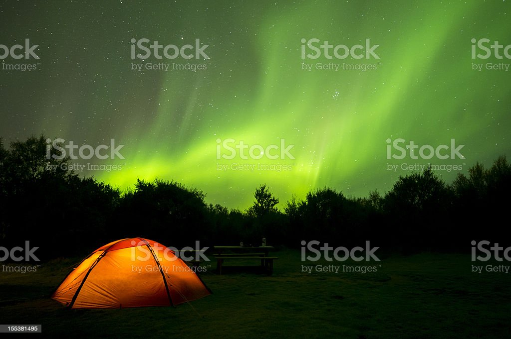 Aurora Borealis on Iceland and a camping tent stock photo