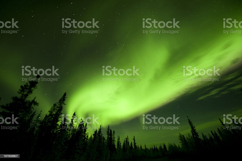 Aurora Borealis or Northern Lights near Yellowknife. royalty-free stock photo
