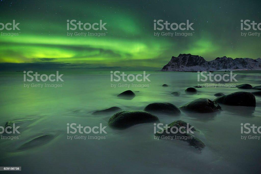 Aurora borealis over a beach on the Lofoten in Norway stock photo