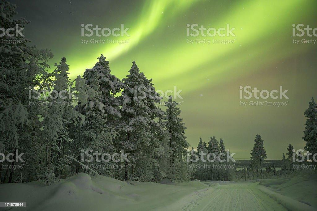 Aurora borealis over a track through winter landscape, Finnish Lapland royalty-free stock photo