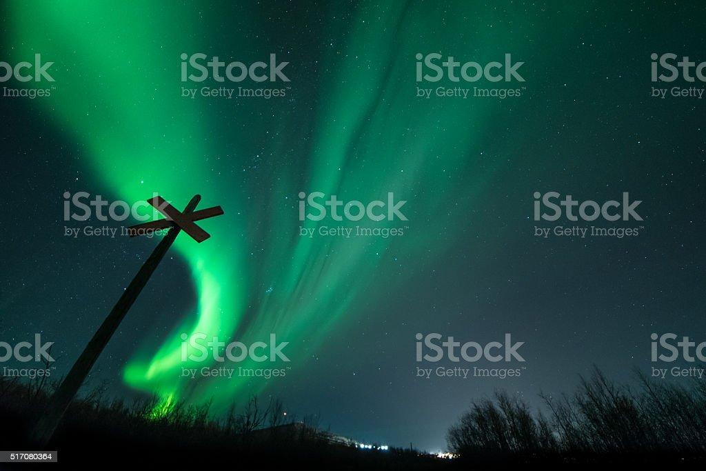 Aurora Borealis over Kiruna Sweden stock photo