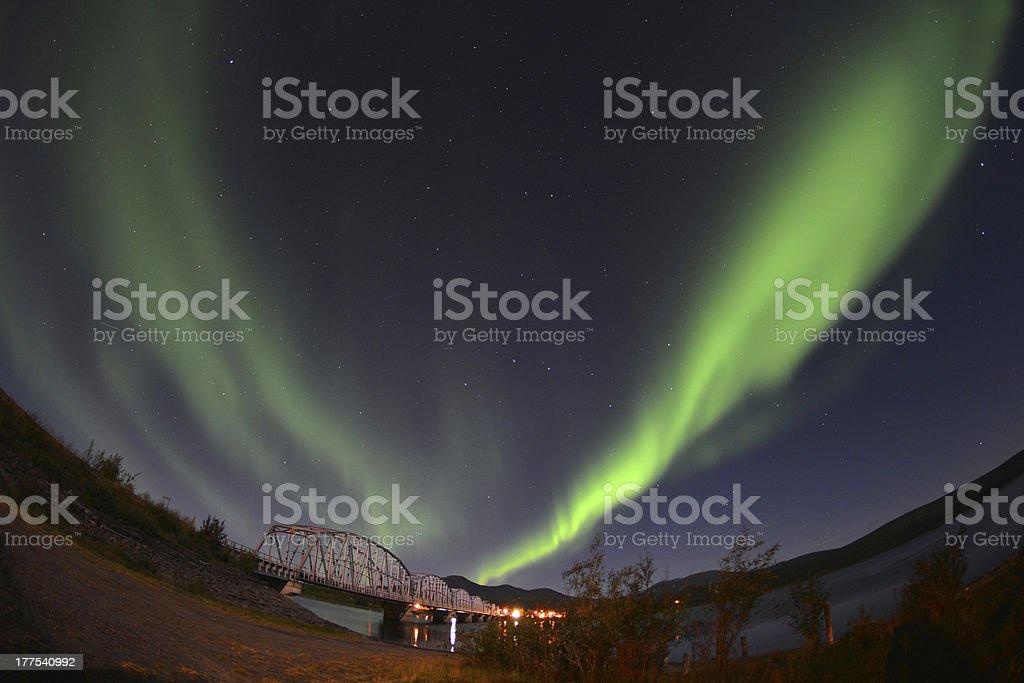 'Aurora Borealis over Teslin, Yukon, Canada' stock photo