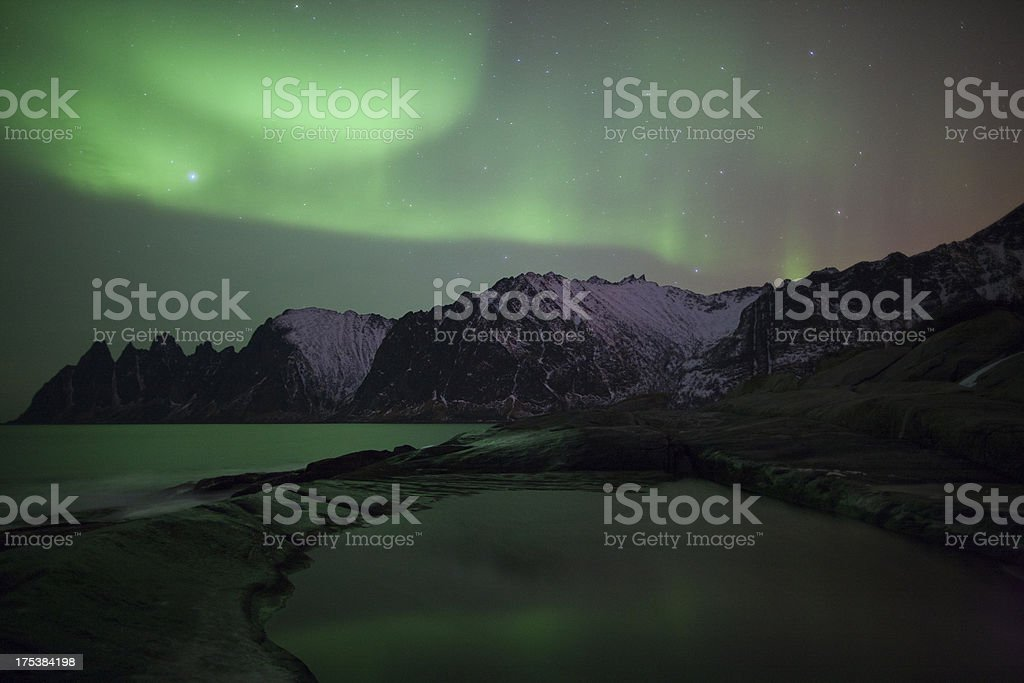Aurora Borealis over Tungenesset, Senja stock photo