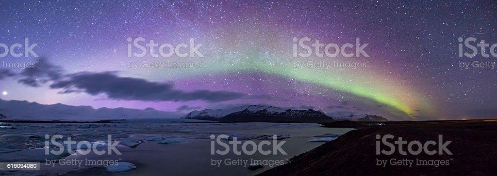 Aurora borealis Panorama stock photo