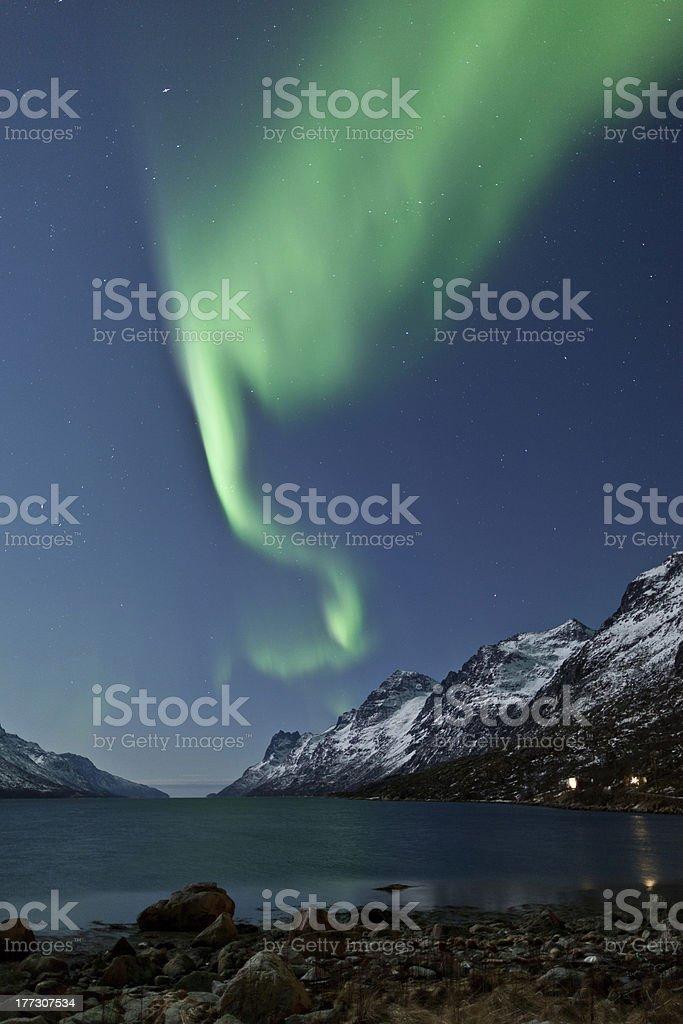Aurora Borealis reflecting royalty-free stock photo