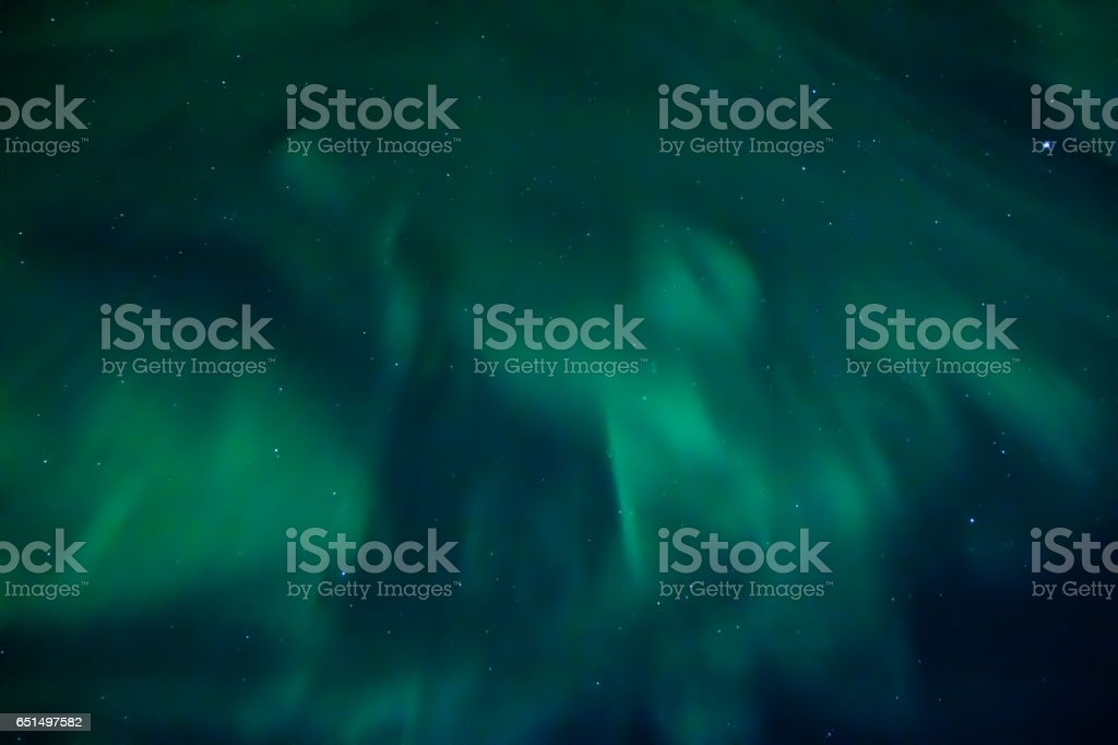 Aurora borealis viewed from underneaht it, Iceland stock photo