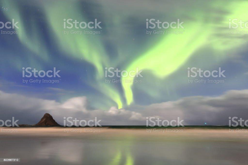 Aurora borealis-Polar lights-Northern lights over Bleik beach. Andoya island-Vesteralen-Norway. 0050 stock photo