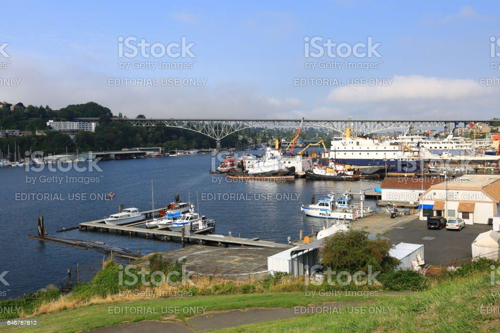 Aurora Bridge and the Shipyard stock photo