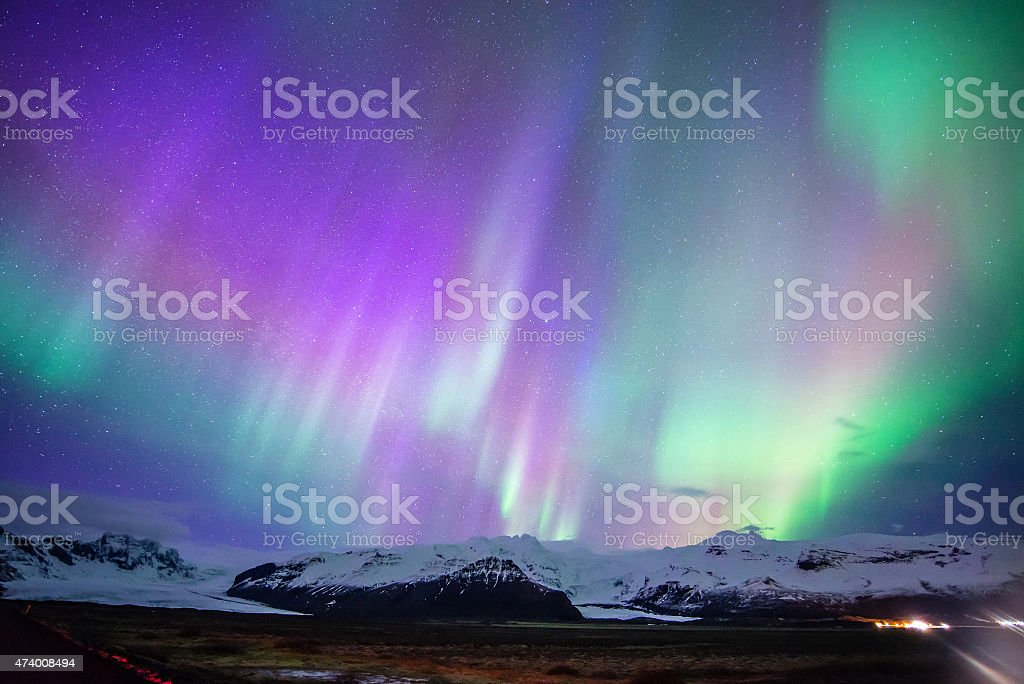 Aurora display in Skaftafell, iceland stock photo