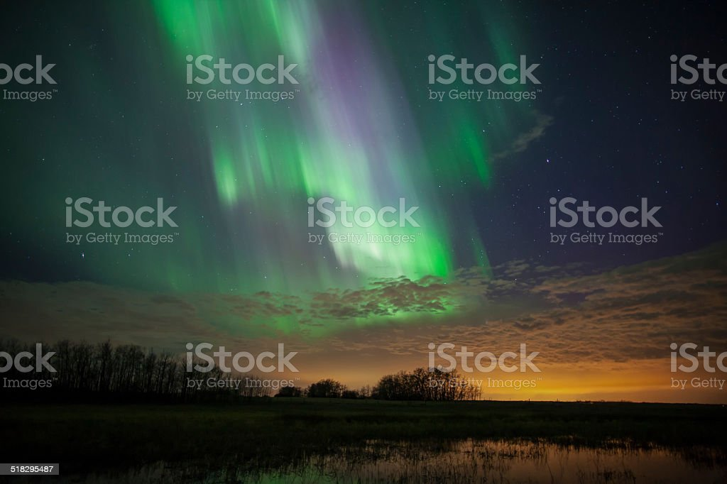 Aurora Over Edmonton stock photo