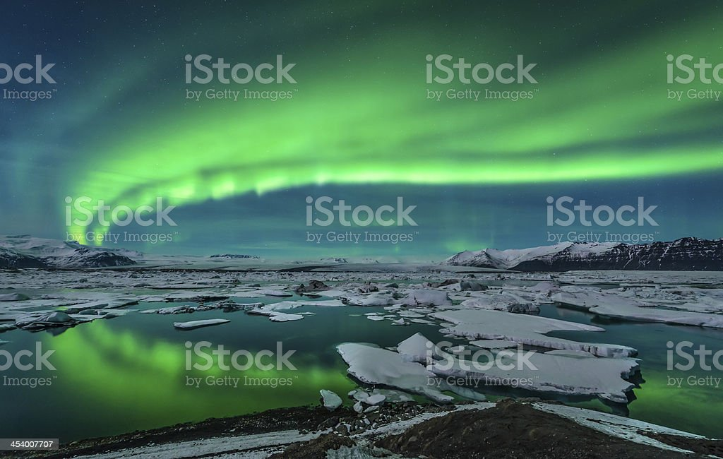 Aurora over Jokulsarlon stock photo