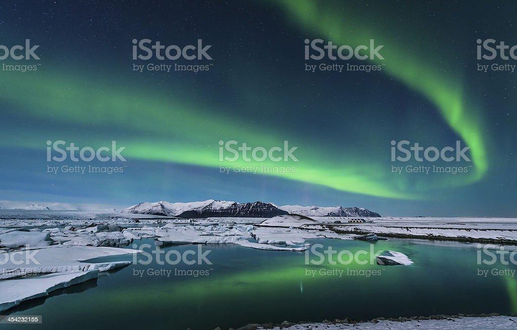 Aurora over Lagoon stock photo