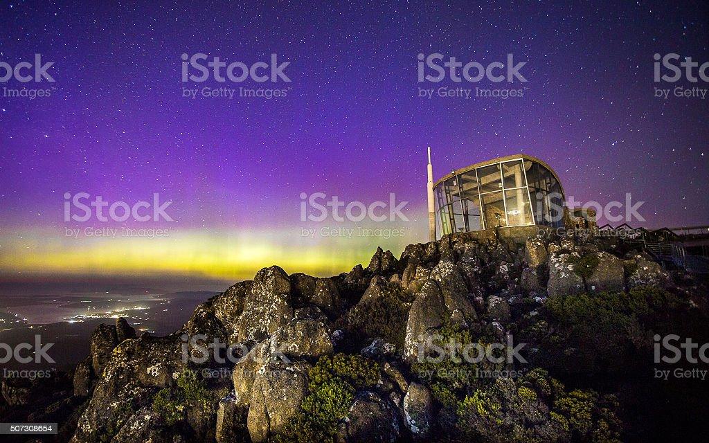 Aurora over Mt. Wellington stock photo