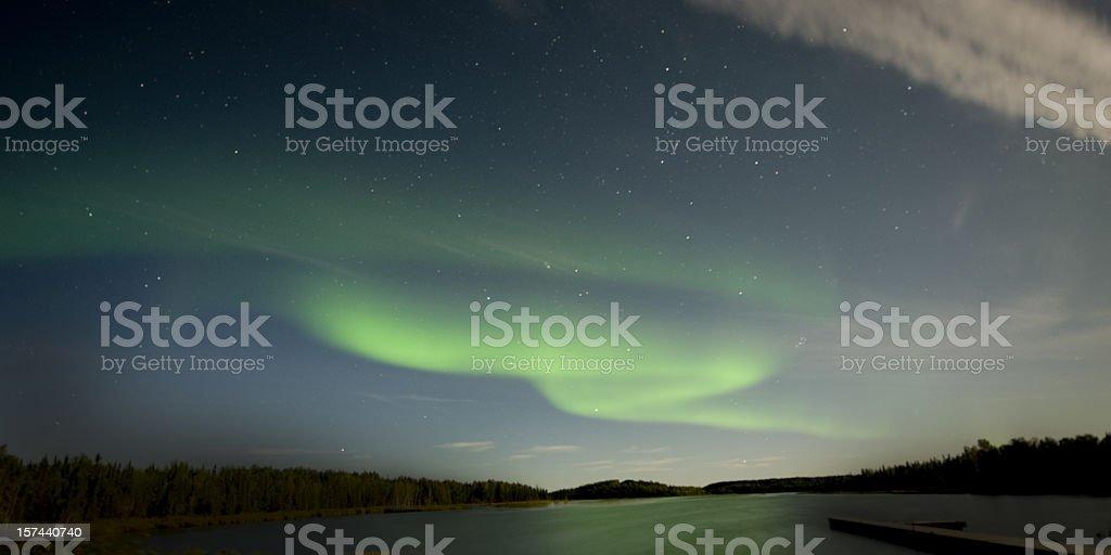 Aurora over Vee Lake, Yellowknife. stock photo