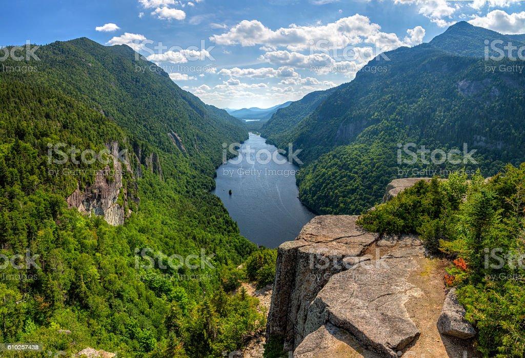 Ausable Lake Summer Panorama stock photo
