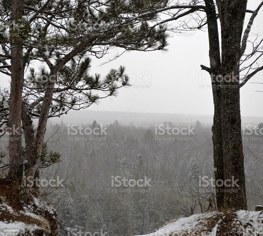 Ausable river high banks in the winter stock photo
