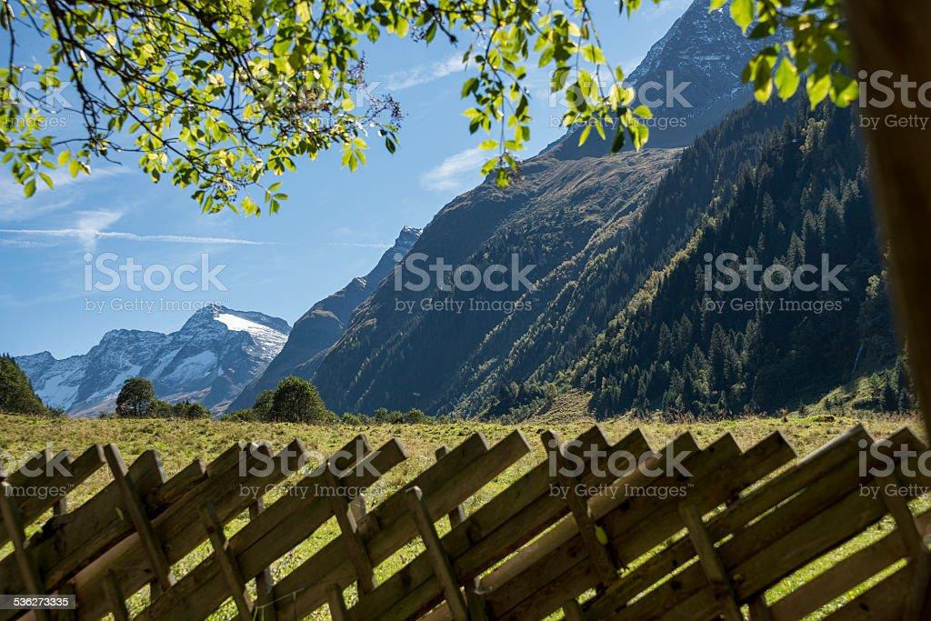 Ausblick auf den Larmkogel ?ber einen Weidezaun; stock photo