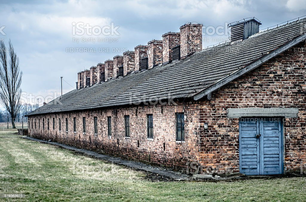 Auschwitz Brick Barrack Buildings stock photo