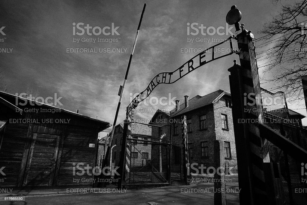 Auschwitz main gate stock photo