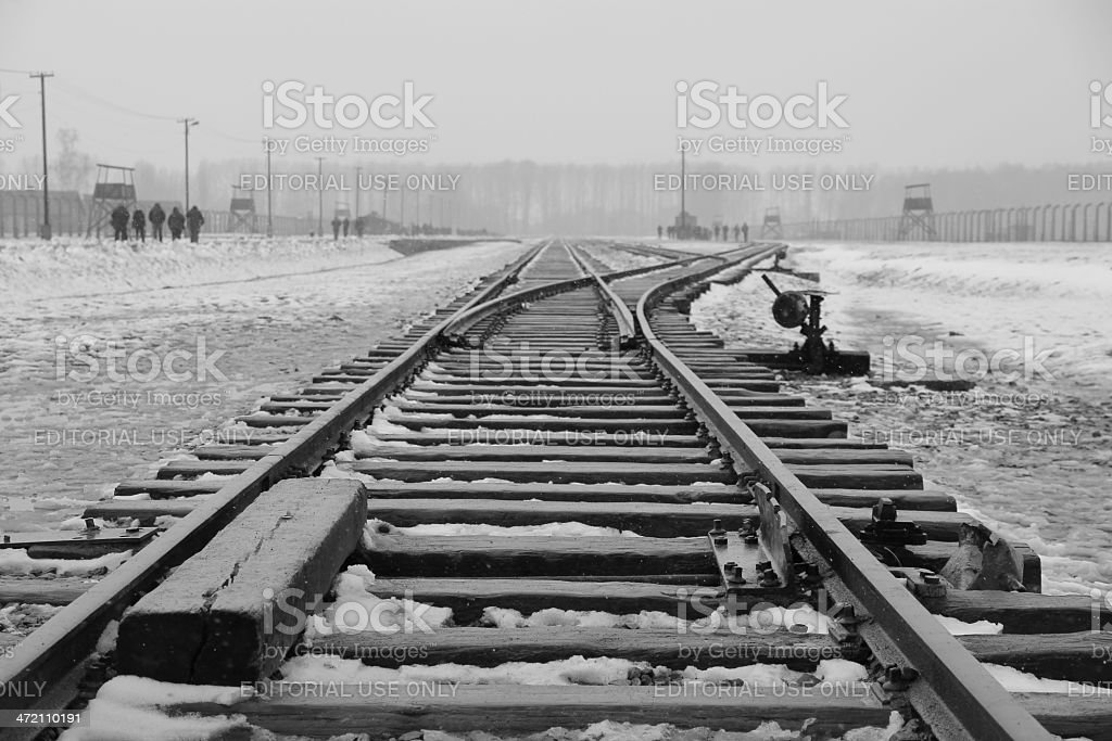 Auschwitz-Birkenau, railway track stock photo