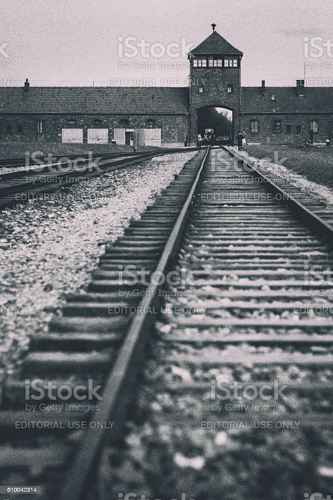 Auschwitz-Birkenau tracks stock photo
