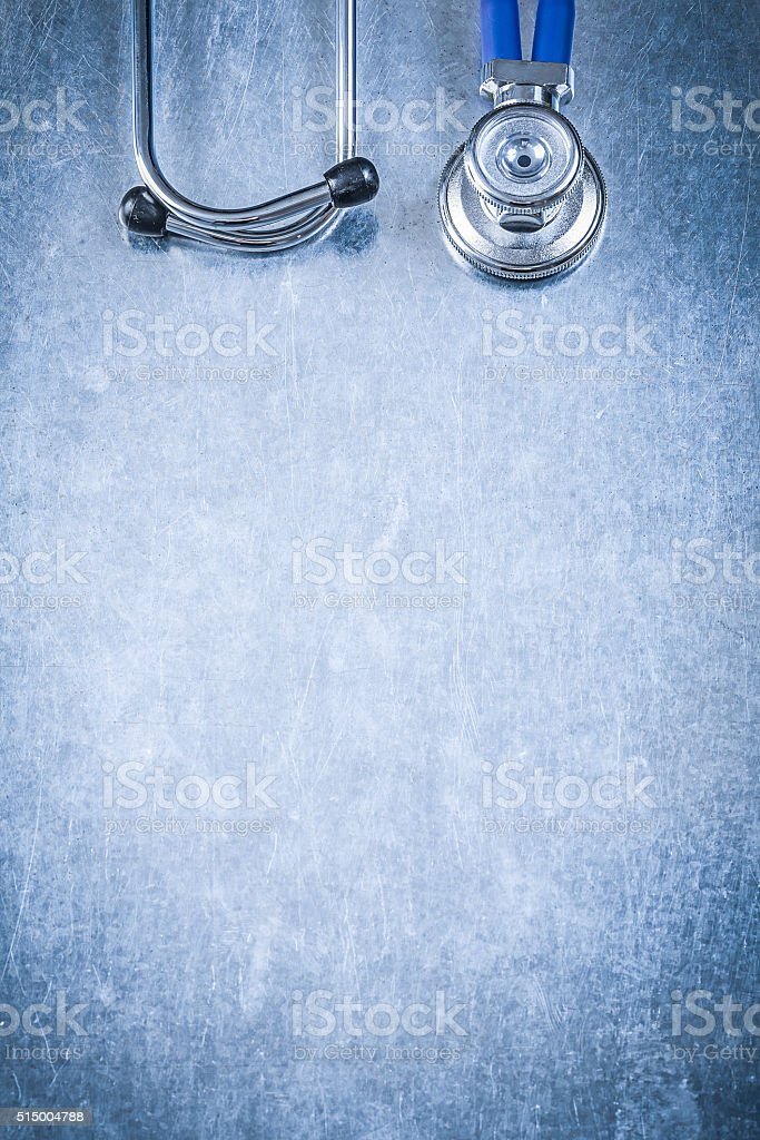 Ausculator diagnostic tool on metallic background copy space med stock photo