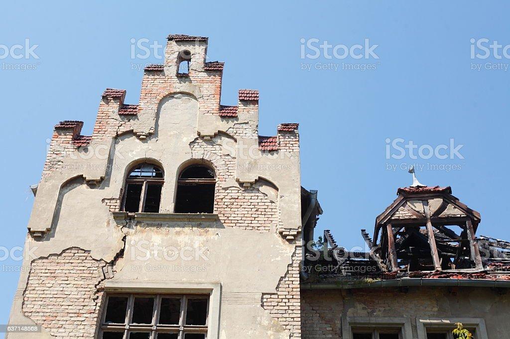 Ausgebranntes Haus, Dachgeschoss stock photo