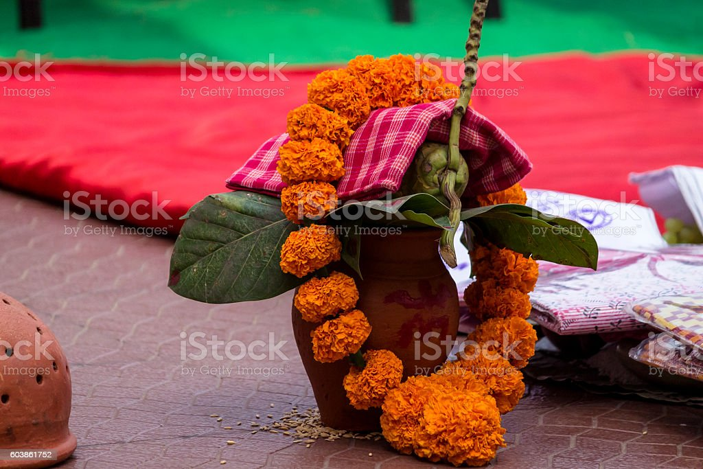 Auspiciousness symbol in Hinduism. stock photo
