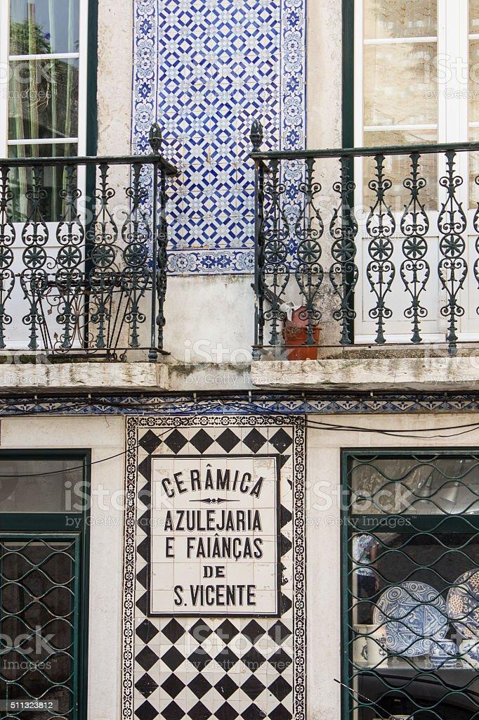 Ausschnitt der Fassade eines Hauses in Lissabon stock photo