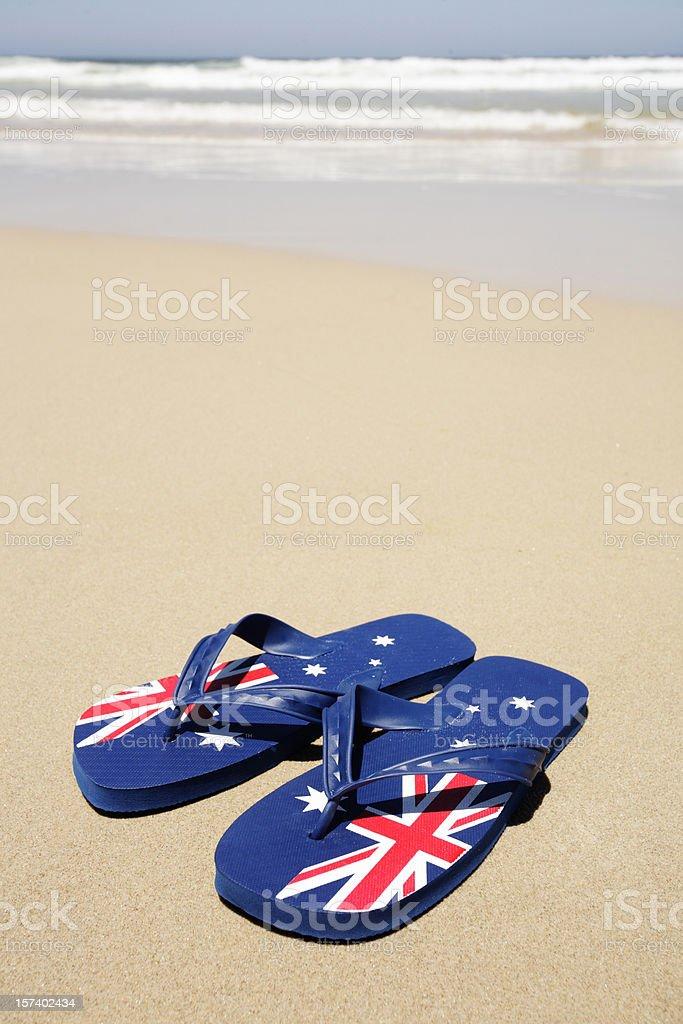 Aussie Beach Thongs stock photo