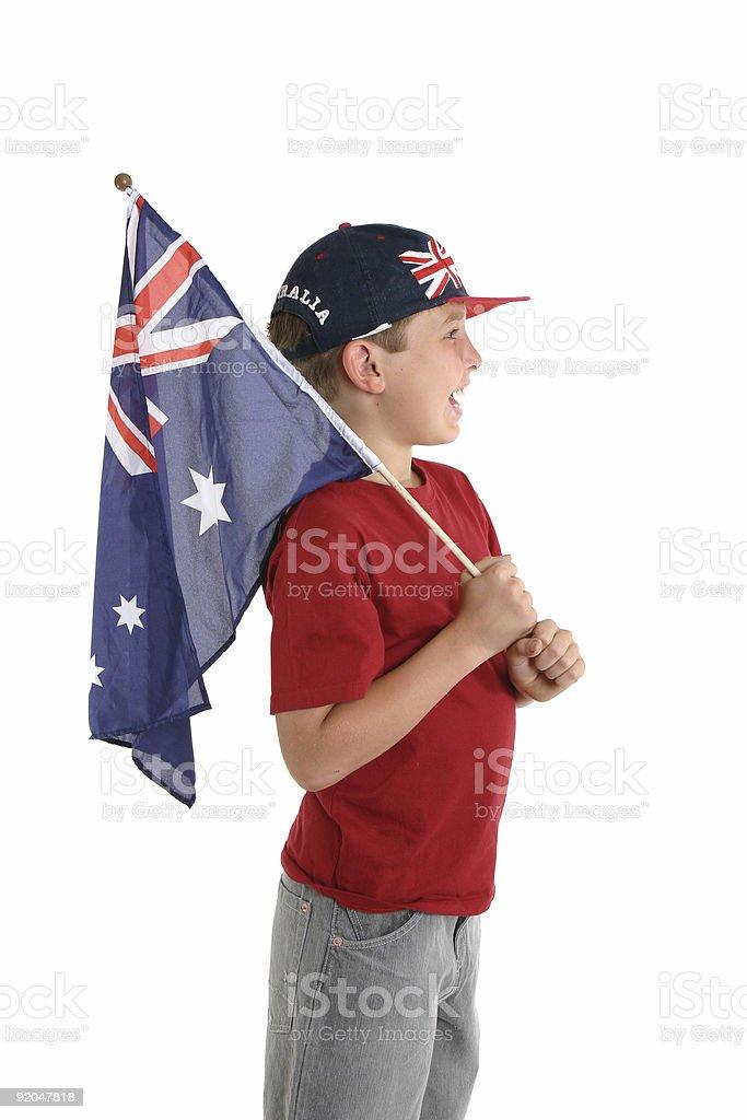 Aussie boy holding a flag. stock photo