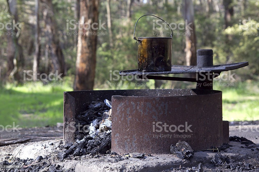 Aussie campfire stock photo