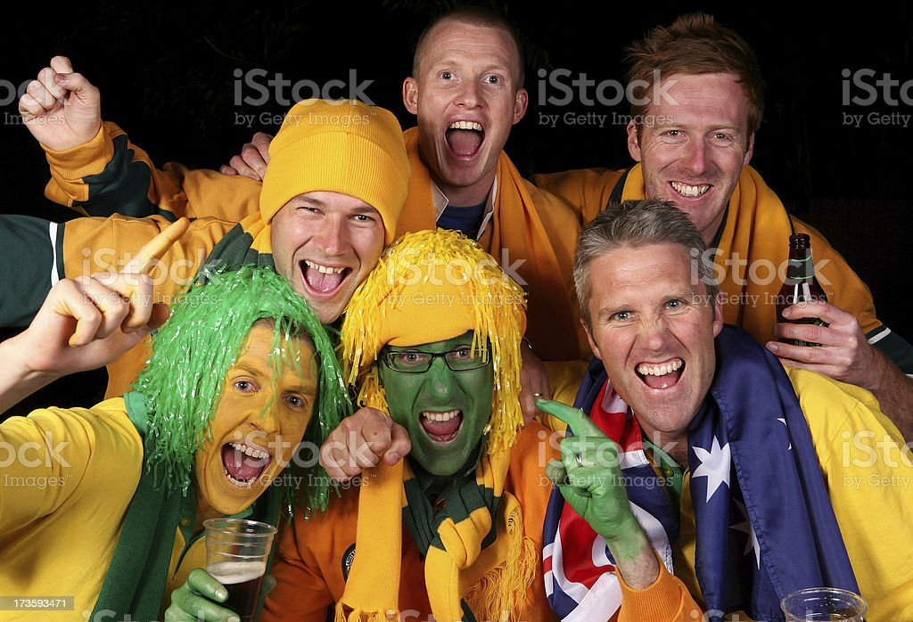 Aussie Fans Celebrate royalty-free stock photo