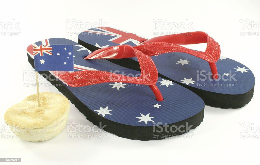 aussie thongs australian flag stock photo