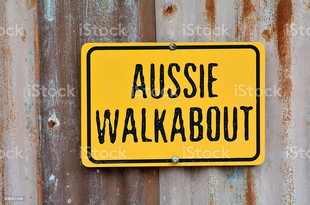 Aussie walkabout sign stock photo