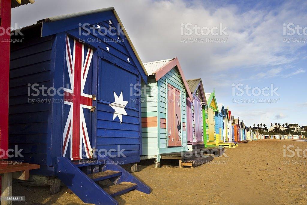 Aussies Brighton bathing boxes royalty-free stock photo