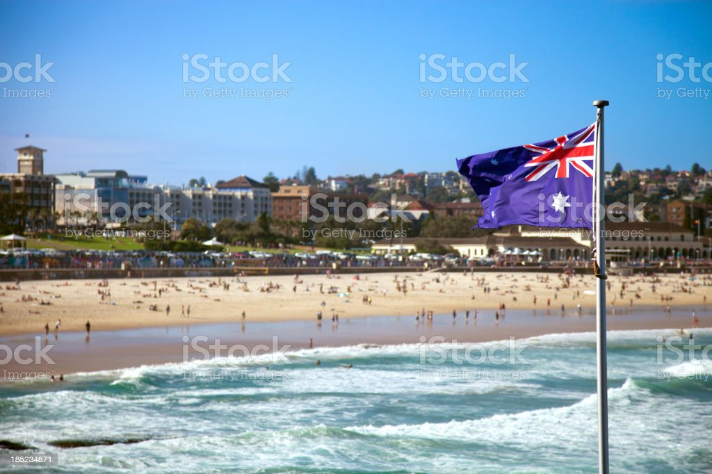 Austalian flag in Sydney Bondi Beach stock photo