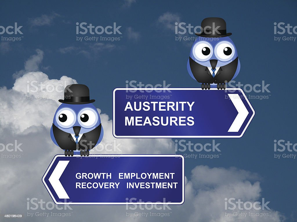 Austerity measures signs royalty-free stock photo