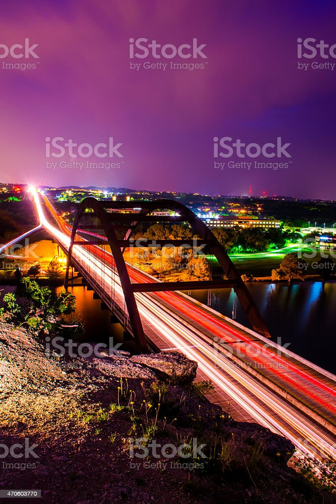 Austin 360 Bridge Pennybacker Bridge Long Night Exposure stock photo