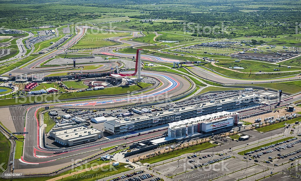 Austin area aerial with motorsports race track in foreground stock photo