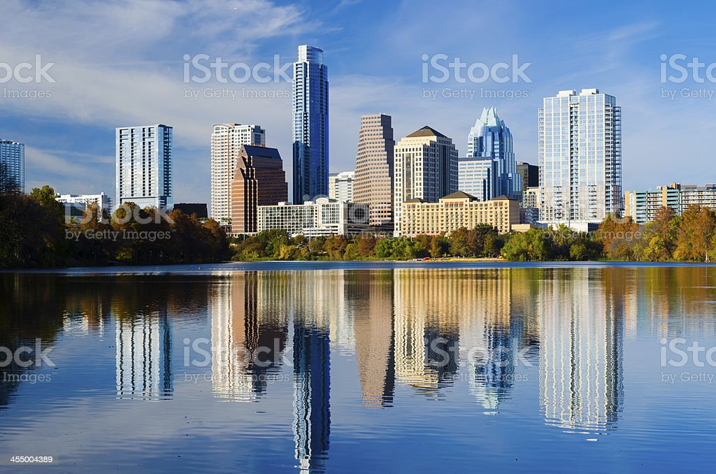 Austin downtown skyline and lake / river stock photo