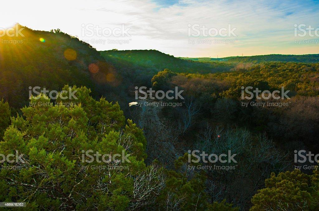 Austin Greenbelt Overlook with Dry Summer Barton Creek stock photo