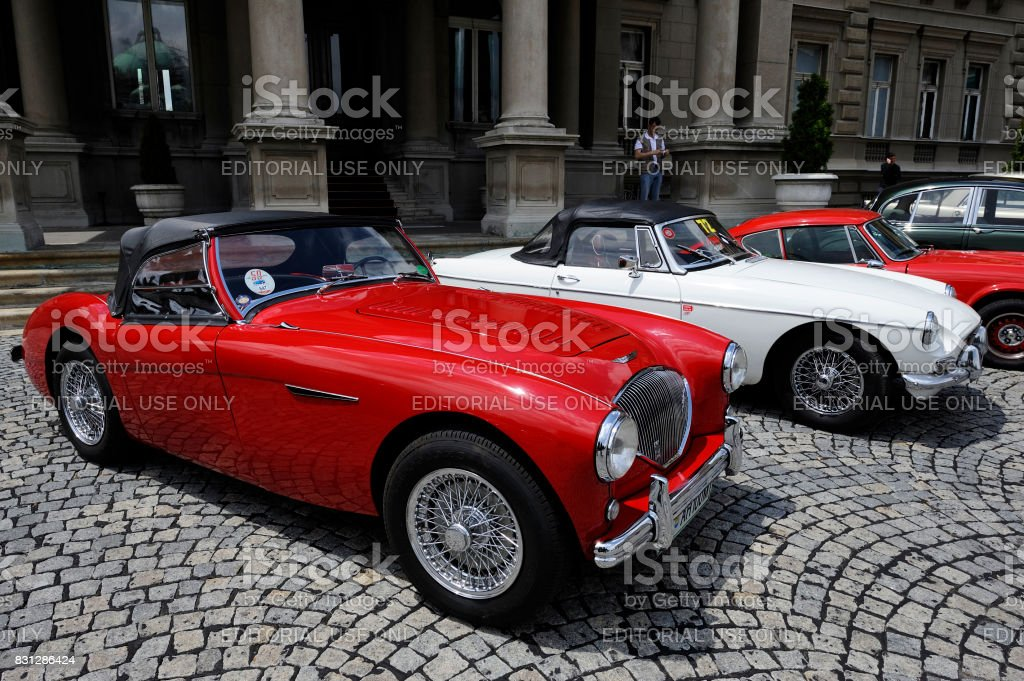 Austin Healey seen on annual meeting of oldtimers stock photo